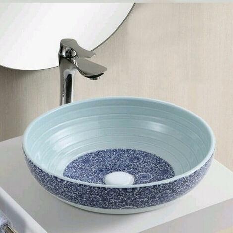 Vasque à Poser Ronde - Céramique Blanc et Bleu - 41 cm - Vintage