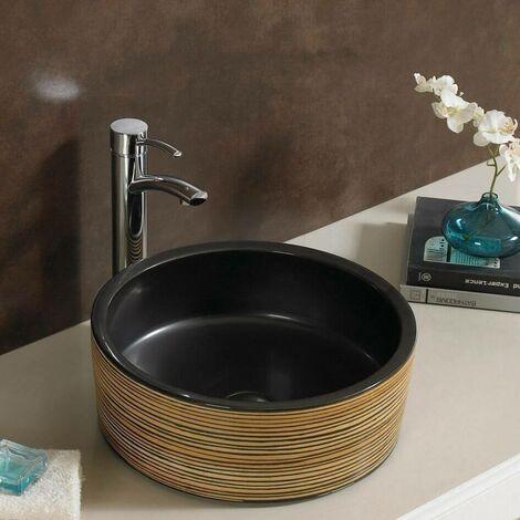 Vasque à Poser Ronde - Céramique Noire - 41 cm - Soon