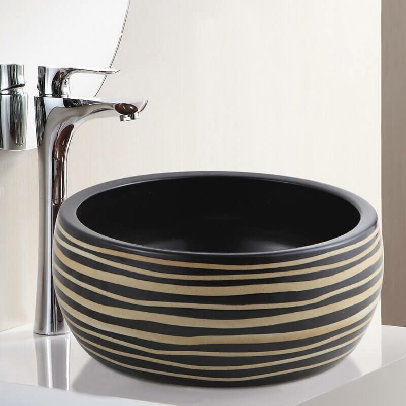 À Céramique 40 CmEtnic Poser Ronde Noir Rainurée Caramel Vasque Et roWCBxed