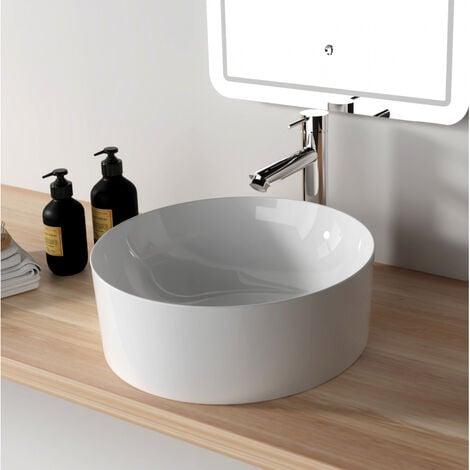 Vasque à poser ronde diamétre 41.5 cm en céramique à bords fins