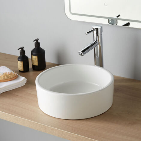 vasque poser ronde en c ramique 35 cm. Black Bedroom Furniture Sets. Home Design Ideas