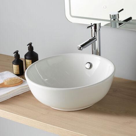 Vasque à poser ronde en porcelaine blanche