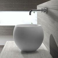 Vasque à Poser Ronde Haute - Solid surface Blanc Mat - 40 cm - Nature