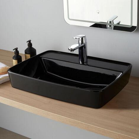 Vasque à poser semi encastrée rectangulaire Rivoli Noire brillante 60x44