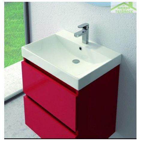 Vasque à poser sur un meuble de bain en porcelaine