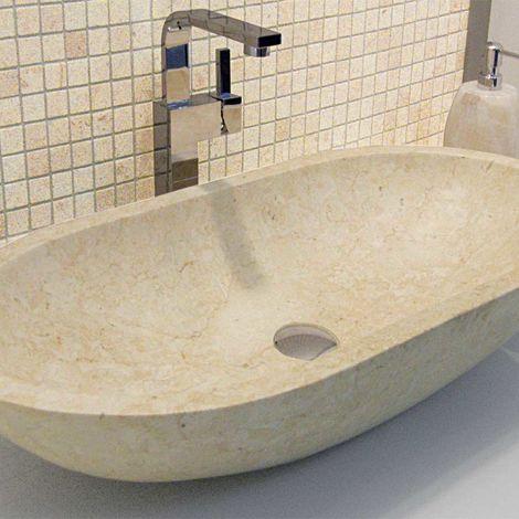 Vasque à poser taillée dans un bloc de marbre (code ISLAOVBGD)