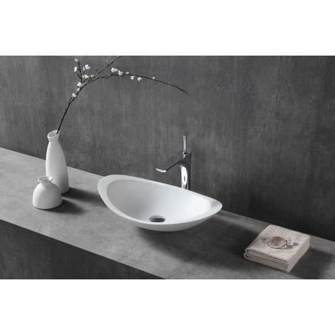 Vasque à poser TWA05 en fonte minérale (Pure Acrylic) - blanc mat - 60,5 x 38 x 14,5 cm