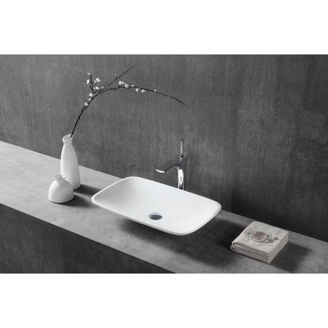 Vasque à poser TWA06 en fonte minérale (Pure Acrylic) - mat - 60,5 x 38,5 x 10,5 cm