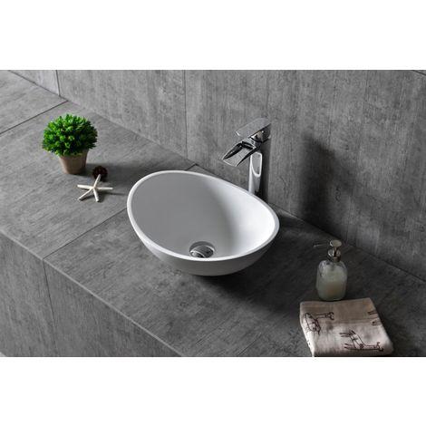 Vasque à poser TWA29 en fonte minérale (Pure Acrylic) - blanc mat - 42x34x15cm