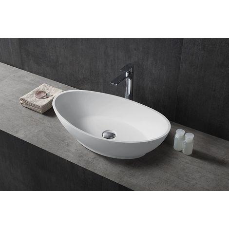 Vasque à poser TWA63 en pierre solide (Solid Stone) - blanc mat - 62,5x34,5x17,5cm