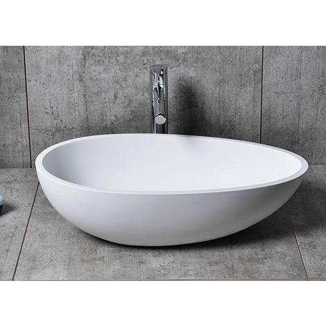 Vasque à poser TWA65 en fonte minérale (Pure Acrylic) - en blanc ou en noir - 60x35x16cm