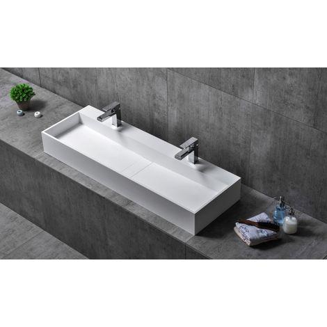 Vasque à poser, TWG07, en fonte minérale (pure acrylique) - 120x40x15cm