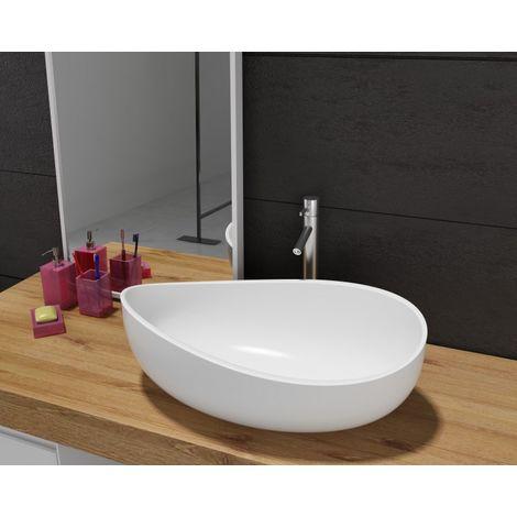 Vasque à poser WAVE PB2001, en fonte minérale (pure acrylique) - 60x37x21cm - blanc mat ou haute brillance