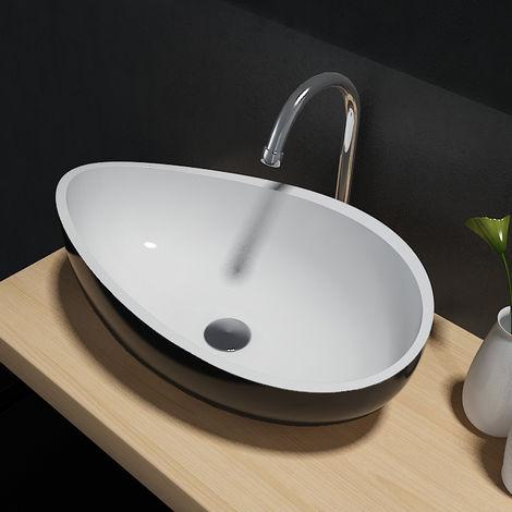 Vasque à poser Wave PB2001B en pierre solide (Solid Stone) – 60 x 37 x 21 cm - couleur en option