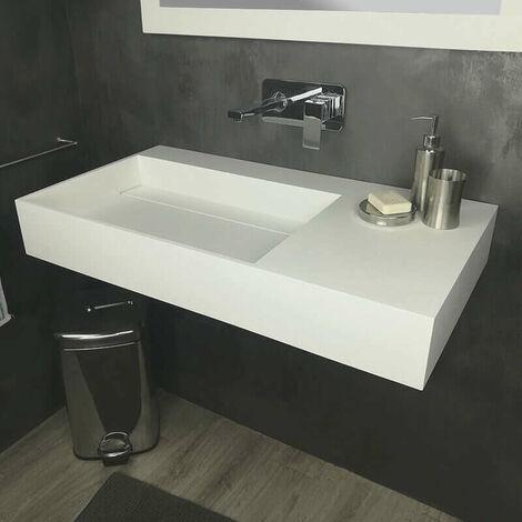 Vasque à suspendre ou à poser 90cm en Solid surface - Fabiola II