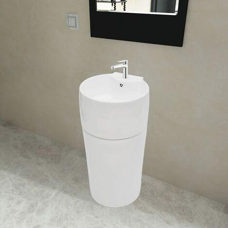 Vasque à trou de trop-plein/robinet céramique Blanc pour salle de bain