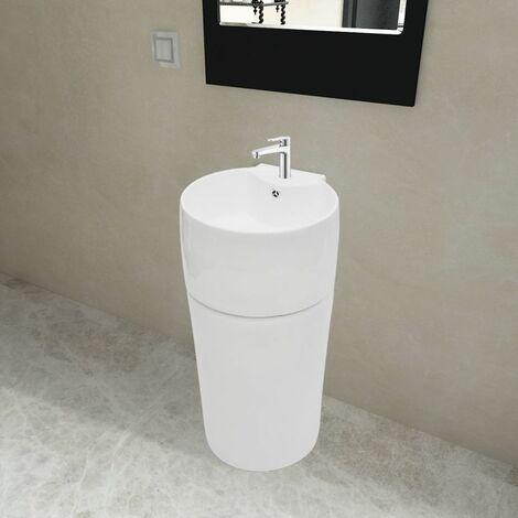 Vasque a trou de trop-plein/robinet ceramique Blanc pour salle de bain