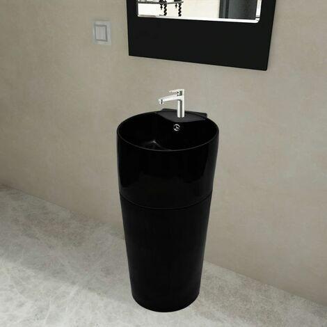 Vasque a trou de trop-plein/robinet ceramique Noir pour salle de bain