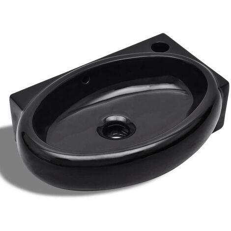 Vasque à trou de trop-plein/robinet céramique pour salle de bain Noir