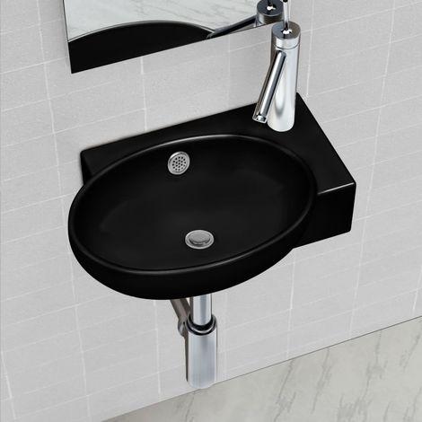 Vasque a trou de trop-plein/robinet ceramique pour salle de bain Noir