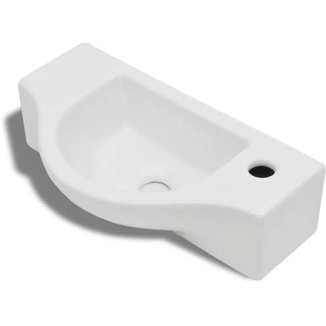Vasque à trou pour robinet céramique Blanc pour salle de bain