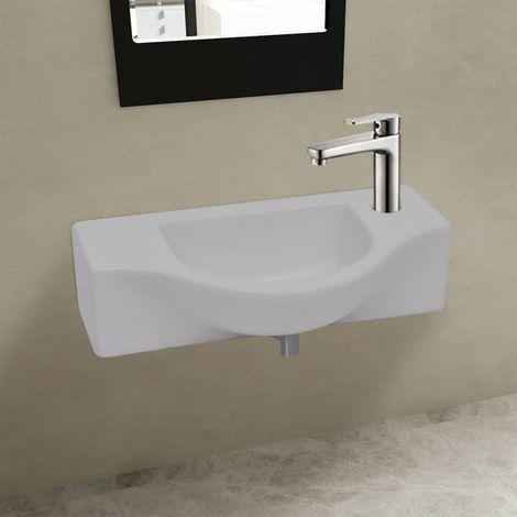 VidaXL Vasque a trou pour robinet ceramique Blanc pour salle de bain