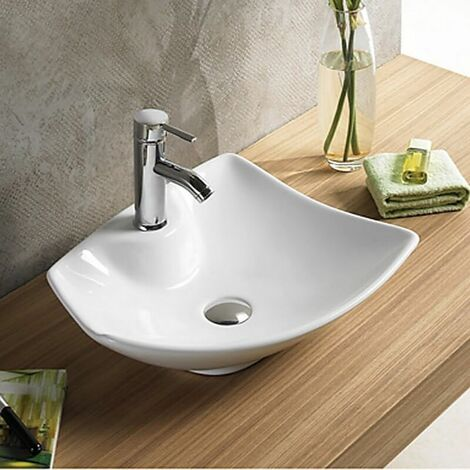 Vasque à Poser avec Plage de Robinetterie - Céramique Blanc Brillant - 49x38 cm - Feuille
