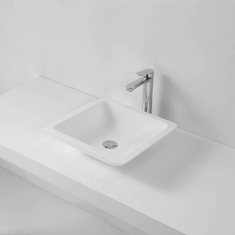Vasque à Poser Carrée - Solid surface Blanc Mat - 42x42 cm - Xeno - 222703 GLS