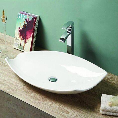 blanc Pup Up Bouchon d/évier en c/éramique pour lavabo de salle de bain sans trop-plein