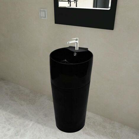 Vasque à trou de trop-plein/robinet céramique Noir pour salle de bain HDV04221