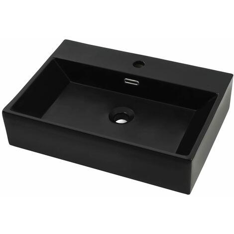 Vasque avec trou de robinet en céramique Noir 76x42,5x14,5 cm