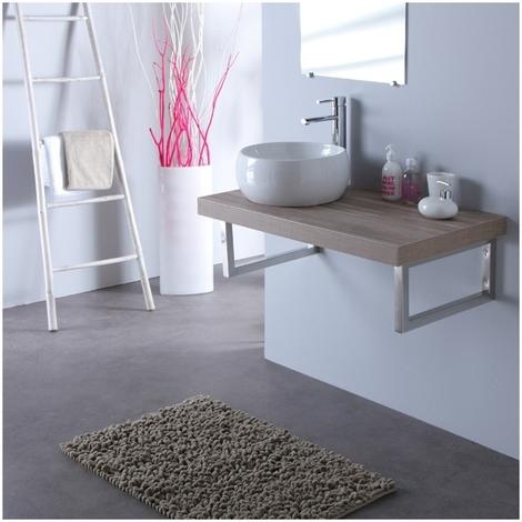 Vasque blanche Mailla + Plan stratifie 90 cm Lamelle gris