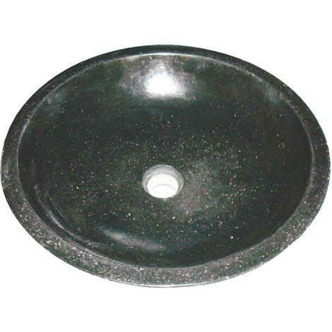 Vasque bol à poser HELOISE - Noire -44cm - Terrazzo - Sans trop plein