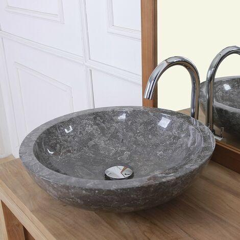 Vasque bol bas en pierre de marbre - Marron