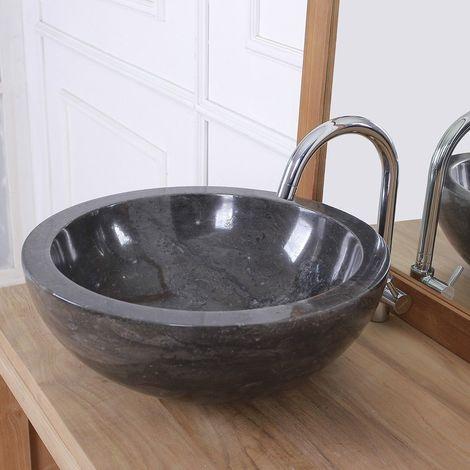 Vasque bol bas en pierre de marbre - Noir