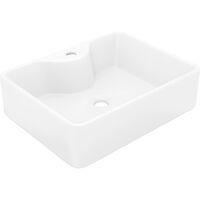 Vasque Carré Trou Robinet Céramique Blanc Salle de Bain Toilette Lavabo