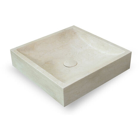 Vasque Carrée Calcaire Beige Cari - Beige