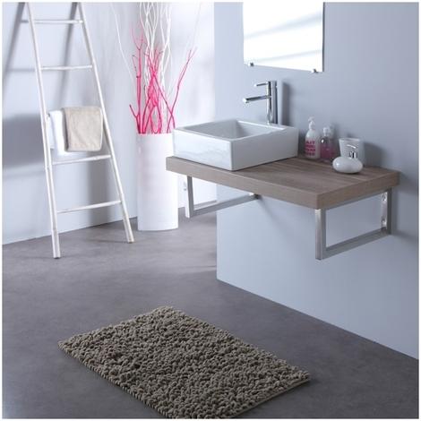 Vasque carree Elec blanche + Plan stratifie 90 cm Gris lamelle