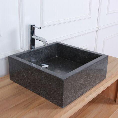 Vasque carrée en terrazzo - Noir