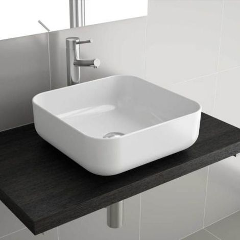Vasque céramique blanche à poser carrée Dolce 390 x 390 x140 mm - vidage non fourni