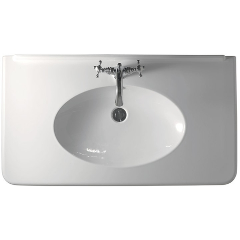 Vasque céramique Retro Parigi avec pieds métal chromé 3 trous - Ondyna WPG10493