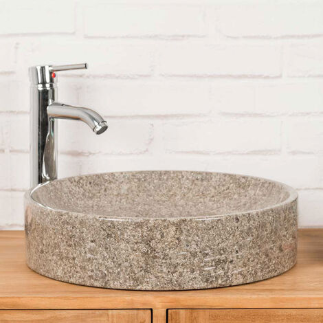 vasque de salle de bain à poser en marbre Mino grise