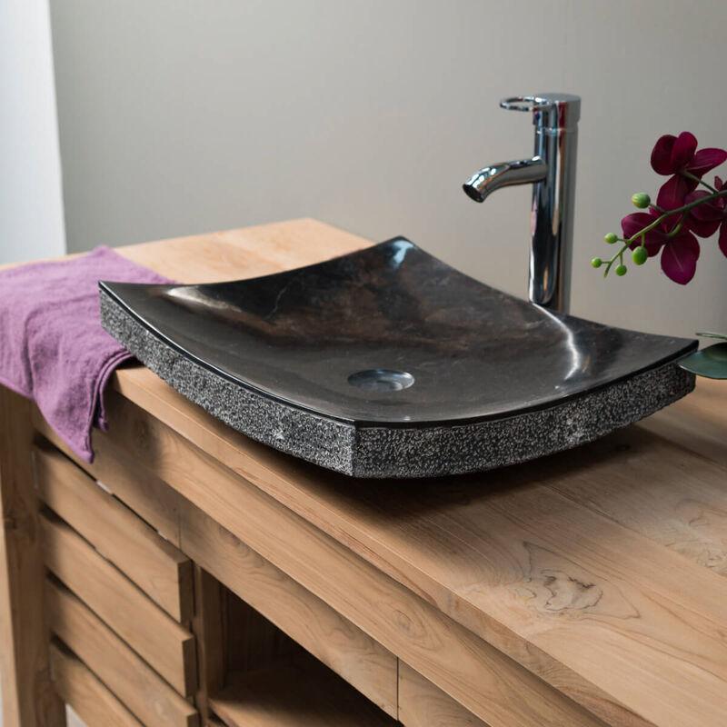 vasque a poser rectangulaire salle de bain Vasque de salle de bain à poser rectangle 50 cm en pierre marbre GENES noir  - 292