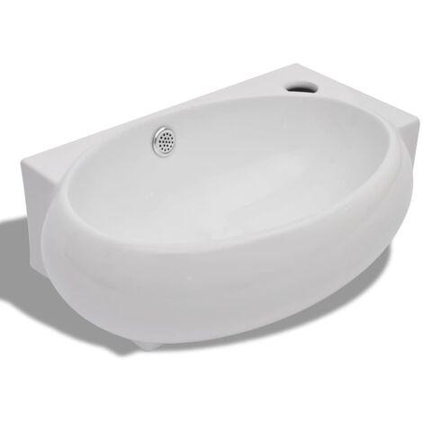 Vasque de Salle de Bain Céramique Blanc Trou Trop-plein Toilette Lavabo