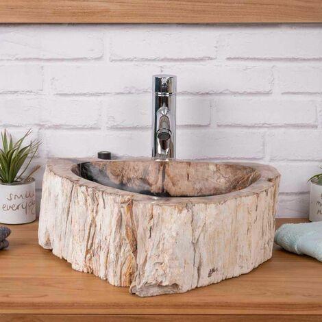 Vasque de salle de bain en pierre bois pétrifié fossilisé noir 40 CM
