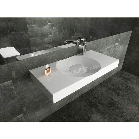 Vasque design à poser ou à suspendre BS6059 en blanc - 100 x 48 x 10 cm