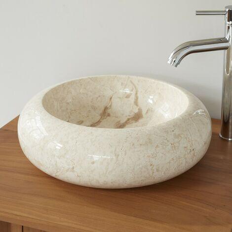 Vasque donuts en pierre de marbre - Blanc