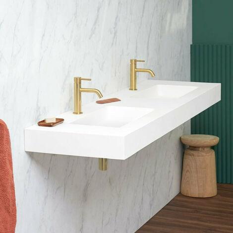 Vasque double suspendue en solid surface CARDIFF MURO