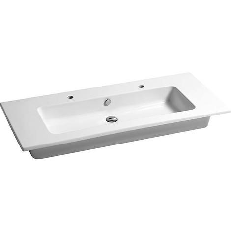 Vasque Elikia 1210x180x510, en céramique, blanc, bac, 2x trou robinet