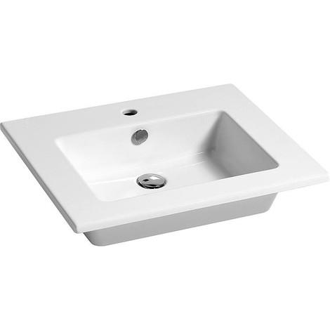 Vasque Elikia 610x510mm, céramique, blanc avec trou robinet